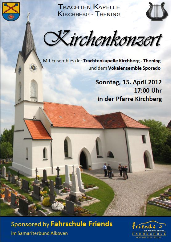 Einladung zum Kirchenkonzert in der Pfarrkirche Kirchberg-thening